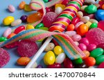 A Lot Of Colorful Candy And...