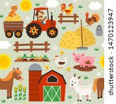 seamless pattern with farmer... | Shutterstock .eps vector #1470123947