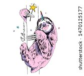 pink funny sloth with a unicorn ... | Shutterstock .eps vector #1470125177