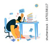 emotional burnout woman sitting ... | Shutterstock .eps vector #1470158117