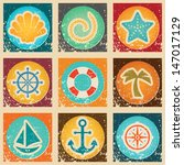nautical vacation grunge icon... | Shutterstock .eps vector #147017129