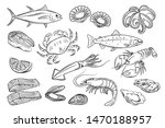 vector set. seafood crab ... | Shutterstock .eps vector #1470188957