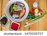 thai food  yentafo noodles ... | Shutterstock . vector #1470220727