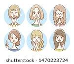 hand drawn style women icon set | Shutterstock .eps vector #1470223724
