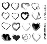 Vector Grunge Hearts Collectio...