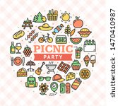 picnic party with bbq round... | Shutterstock .eps vector #1470410987