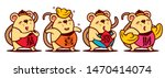 cartoon cute rat set with gong... | Shutterstock .eps vector #1470414074