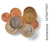 euro coins isolated on white... | Shutterstock . vector #1470477557
