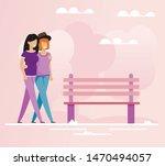 embracing lesbians lovers...   Shutterstock .eps vector #1470494057