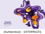 happy halloween 3d papercut...   Shutterstock .eps vector #1470496151