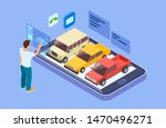 rent car online. isometric buy... | Shutterstock .eps vector #1470496271