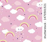 cute clouds with a rainbow on a ... | Shutterstock .eps vector #1470501521