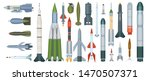 Army weapons. Propeller engine military missile dangerous ballistic weapons vector cartoon collection. Weapon power, warhead rocket, explosive atomic bomb illustration