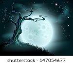 a spooky scary blue halloween... | Shutterstock .eps vector #147054677
