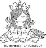 vector  unicorn   baby girl... | Shutterstock .eps vector #1470565307