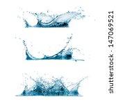 set of three water splashes | Shutterstock . vector #147069521