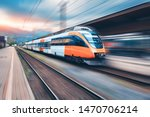 High speed orange train in...