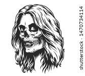 day of dead makeup girl head in ... | Shutterstock .eps vector #1470734114