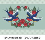 old school frame with roses and ... | Shutterstock .eps vector #147073859
