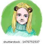 A Portrait Of A Cute Girl Wit...