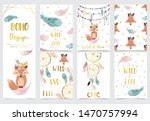 collection of kid invitation... | Shutterstock .eps vector #1470757994