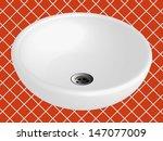 bathroom sink against orange... | Shutterstock .eps vector #147077009