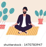 bearded man sitting with his... | Shutterstock .eps vector #1470783947
