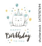 lettering happy birthday and...   Shutterstock .eps vector #1470787694