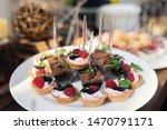 tasty sweets on a brown rustic... | Shutterstock . vector #1470791171