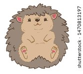 a cute hedgehog lying on its... | Shutterstock .eps vector #1470813197