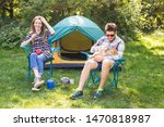 Stock photo people tourism and nature concept couple having fun on camping trip 1470818987