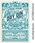 vintage gin label. vector... | Shutterstock .eps vector #1470831014