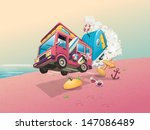 vector background with beach...