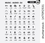 dj and music icon set black... | Shutterstock .eps vector #147092531