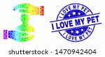 Stock vector pixelated bright spectral customer care hands mosaic pictogram and i love my pet seal stamp blue 1470942404