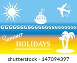 vector summer poster with beach ... | Shutterstock .eps vector #147094397