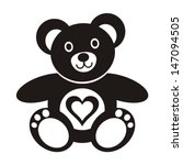 Cute Black Teddy Bear Icon Wit...