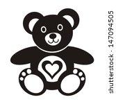 Cute Black Teddy Bear Icon Wit...
