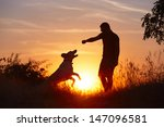 Stock photo young man with his yellow labrador retriever in nature back lit 147096581
