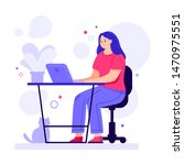 a girl working on the computer... | Shutterstock .eps vector #1470975551