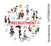 flat recruitment round concept... | Shutterstock .eps vector #1470984104