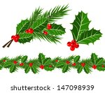 holly leaves and berries  | Shutterstock .eps vector #147098939