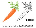 carrot set. cartoon orange... | Shutterstock .eps vector #1471050137