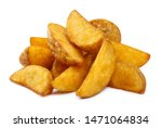 Delicious fried potato wedges ...