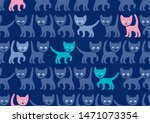 Stock vector blue kittens on blue background seamless pattern color vector funny kittens blue background 1471073354