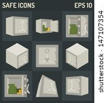 vector safe icons set | Shutterstock .eps vector #147107354