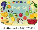 cartoon color fruit and berry... | Shutterstock .eps vector #1471090481