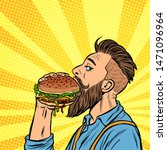 hipster man eating burger. pop... | Shutterstock .eps vector #1471096964