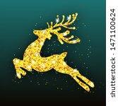 golden deer christmas...   Shutterstock .eps vector #1471100624