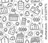 house doodle seamless pattern.... | Shutterstock .eps vector #1471107971